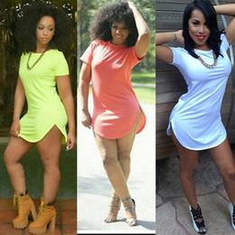 Wholesale 2015 Summer Sexy Club Dress Short Sleeve Split Bandage Bodycon Cheap O Neck Fashion Party Cotton Casual Tshirt Dresses For Women