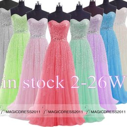 Wholesale 2015 IN STOCK Beaded Prom Evening Gowns Backless A Line Sweetheart White Grey Blue Lilac Green Pink Watermelon Long Formal Party Dress