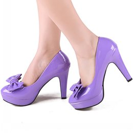 Wholesale 2016 Beautiful Purple With Bow Tie Leather Shoes Fashion Leisure Girl s Business Prom Shoes Breathable Shoes DY