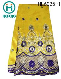 Wholesale 2015 Hot sale high quality indian african george lace fabric for wedding and party dress HL6025