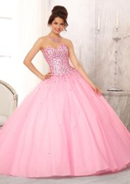 Wholesale Modern Lovely Quinceanera Dresses Sweetheart Ball Gown Beaded Sleeveless Floor Length Backless Lace up Tulle Quinceanera Gowns