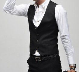 Wholesale HOT Recommend Formal Men s Waistcoat New Arrival Fashion Black Groom Vests Casual Slim Vest Custom Made NO