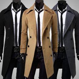 Wholesale hot sale long wool coat mens double breasted trench coats men simple luxury men overcoat
