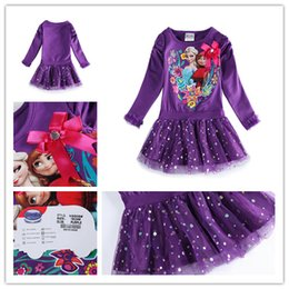 Wholesale Christmas gift Frozen princess long sleeve dresses cloth Elsa Anna baby party bling purple Underskirt for girls children daughter hot