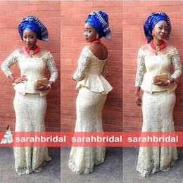 Wholesale 2015 Lace Evening Dresses Mermaid Nigeria Aso Ebi Styles Fashion Wedding Peplum Bridesmaid Formal Wear Cheap Mother of The Bride Groom Gowns