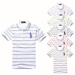 Wholesale NEW Arrived Summer Gentleman Men Classic Striped Polo Shirt Cotton Short Sleeve Plus Size M XXL PO