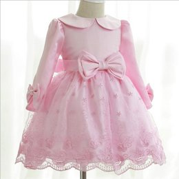 Wholesale Girls Dress Autumn and Winter Bow Doll Collar Long Sleeved Embroidered Lace Princess Tutu Wedding Dress High Grade Solid Color Skirts