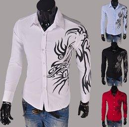 2015 homens primavera cultivar homens Outono de manga comprida camisa de camisa de dragão camisa coreana moda branca