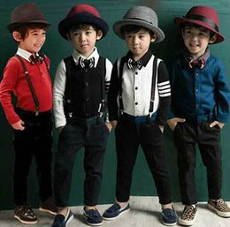 Wholesale New Spring Autumn Fashion Boys Gentleman Suit with Bow Tie and Suspenders Children Clothing Set Outfits