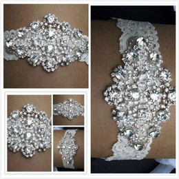 Wholesale 2015 Real Image Sexy Lingerie Rhinestone Lace Pair Bridal Garters Belt Wedding Garter Fashion Wedding Accessories for Women New