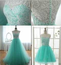 Wholesale 2015 Hot Long short Lace Tulle Homecoming dress A line Prom Bridesmaid Dress Formal Gown