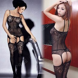 Wholesale Sexy Black Crotchless Bodystocking Suspender Mini Dress Bodysuit Lingerie SV002518