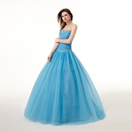 Wholesale Turquoise sweet Bling Crystal Quinceanare Dresses Sweetheart Floor Length In Stock Prom Dress ball Gowns Real Picture WXC