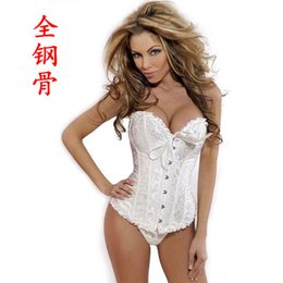 Wholesale Sexy Lace Boned Burlesque Overbust Corset Bustier Hot Sell