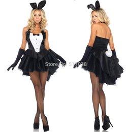 Wholesale w1031 Preto Sexy coelho das mulheres coelho bonito traje de Halloween smoking lingerie smoking saia tutu vestido de definir para o Natal cosplay boate