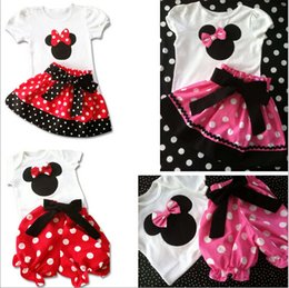 Wholesale 2015 Summer Mickey Mouse Suit Outfits Minnie Mouse girls T Shirt pants dot dresses skirt with Bowknot lace kids suit
