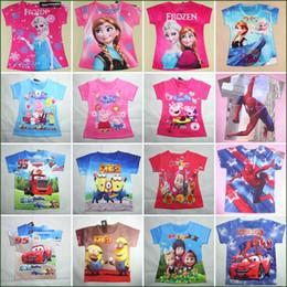 Wholesale Baby Tshirts Sizes Y Cotton Short Sleeve Big Hero Spiderman Autobots Minions Martha and the Bear Tshirt