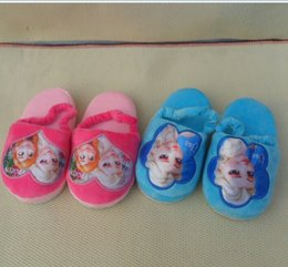 Wholesale Frozen Slipper cm winter Warm comfortable Short Fur Cotton Slippers Children Girls Winter New Kids Baby Home Shoes Sandals