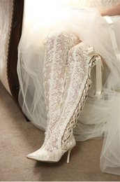 Wholesale New Fashion Winter Wedding Boots cm High Heels Sexy White Sheer Lace Beauty Prom Peep Toe Evening Party Dress Women Lady Bridal Shoes