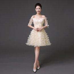 Wholesale 2016 Tutu short Bridesmaid Wedding Dress Suit shoulder word party dress