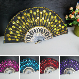 Wholesale Vintage Lady Lace Bridal Hand Fans Cotton Handmade Folding Fan Bamboo Dancing Wedding Party Decoration Prom party Fans