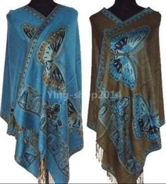 Wholesale Vintage Sky Blue Beautiful Tippet Butterfly Shawl Fashion Cappa Softt Scarf