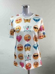 Wholesale Harajuku New Women Clothing Funny Cartoon Emoji Print D T Shirt Punk O neck Short Sleeve Tee Shirts FASHION556