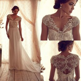 Wholesale Wedding Dresses Anna Campbell V Neck Champagne New Summer Lower Zipper Sleeveless Floor Length With Beads A Line Bridal Gowns