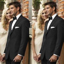 Wholesale Black Wedding Groom Tuxedos Jacket Tie Shirt Pants Men Suits Custom Made Formal Suit for Men Wedding Bestmen Tuxedos Groom Wedding Suits