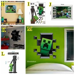 Wholesale DHL Minecraft D Wall Stickers Creeper Decorative Steve Dig Wall Decal Cartoon Wallpaper Kids Party Decoration Festival Wall Art Poster
