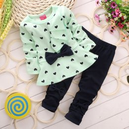 Wholesale 2015 New Arrival Kids Baby Girls Heart shaped Clothes Set Outfits Tops Sweater Pants