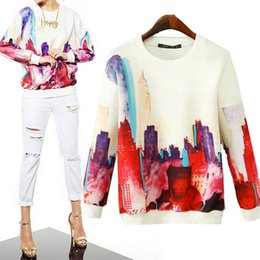 Wholesale European Style New Fashion Women s Pullovers Casual Tracksuits Sport Coat Woman Clothes Digital Flower Printed Sweatshirt Hoodies