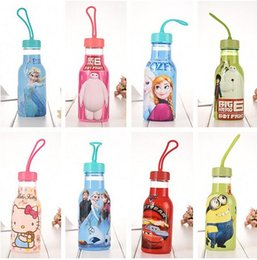Wholesale Children drinkware cartoon Frozen big hero Minions kitty cat cups cold water bottles portable transparent kettle sports bottle ML