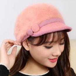 Wholesale Jennifer confusion Korean female winter days rabbit fur hat Korea lovely warm knit wool cap Button