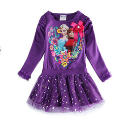 Wholesale Frozen dress fashion purple frozen girls dress girls long sleeve skirt princess dresses for