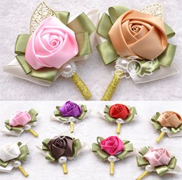 Wholesale Wedding Corsage Hand Made Artificial Beads Pearls Silk Rose Crystal Bouquet Bride Bridesmaid Bridal Red Pink Purple Accessories
