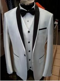 Wholesale Custom Made White Groom Suits For Wedding One Buttoms Gentleman Groomsmen Tuxedos Best Man Suit Jacket Bowtie Vest