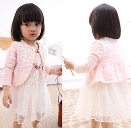 Wholesale 2016 Spring Children Girls Fashion Cotton Outwears Princess Lace Flowers Bordered Long Sleeve Pink White Cardigans Coat B3984
