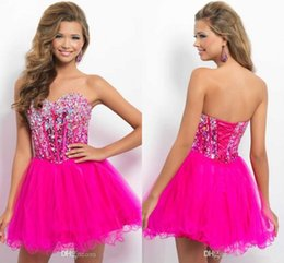 Wholesale Sexy Short Homecoming Dress Sweetheart Crystal Beaded Tulle Mini Length Fuchsia Corset Backless Short Party Dress Cocktail Dress Prom Dress