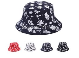 Wholesale A cotton fuck bucket hats flat topped hat coconut printing leisure fisherman cap