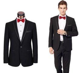 Wholesale Generous Black Notched Lapel Groom Tuxedos Groomsmen Best Man Suits Men Wedding Suits Jacket Pants Bow M110806