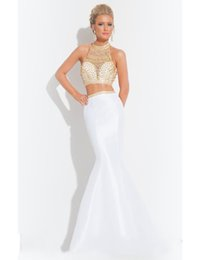 Wholesale 2015 Hot Long White Gold Crystal Two Piece Prom Dresses Mermaid Evening Gown Teen Party Homecoming Dress Vestido Formatura Longo