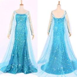 Wholesale 2015 Blue Bling Snow Queen Frozen Elsa Queen Princess Adult Women Evening Party Dress cosplay Costume Elsa Dresses