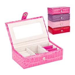 Wholesale Wholesales Women Jewelry Packaging Carrying Case Ring Earring Necklace PVC Hasp Storage Box Coin Cases Birthday Gifts YT0270 kevinstyle