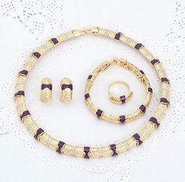 Wholesale Saudi Gold Jewelry Set Africa lady jewelry set Alloy Bracelet Fashion Necklace Gold Plated Earring A096