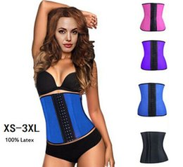 Wholesale Women s Waist Training Belt Underust Waist Cincher Rubber corset Latex Bustier Body Shaper XS XL Colors