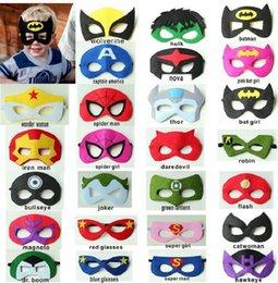 Wholesale 20cs Superhero mask Superman Batman Spiderman Hulk Thor IronMan Flash Captain America Wolverine Halloween Party Costumes for Kids