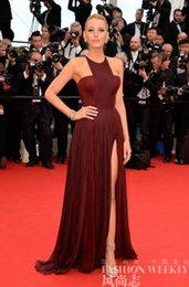 Wholesale 2015 Sexy Gossip Girl Blake Lively In Cannes Red Carpet Celebrity Dresses Chiffon High Split Evening Gowns Formal Prom Party Dress Cheap New