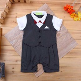 Wholesale Cool Baby cloth Gentleman Modelling Of A New Baby Boy Gentleman Suit Short Sleeved Casual Clothes baby boys cloth set