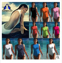 Wholesale 2014 colors fashion sexy high waist Topmelon new swimsuit push up brazilian bikini one piece women Bathing beach swimsuit topB863